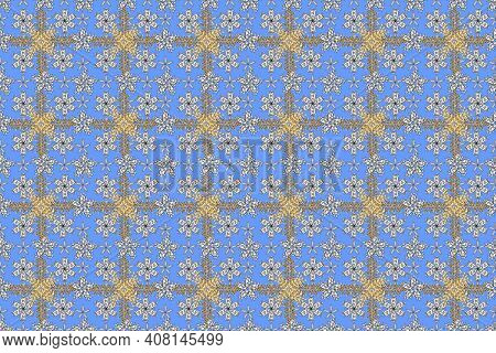 Seamless Pano Pattern On Colorful Backround With Golden Elements