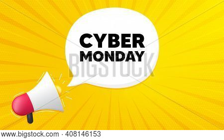 Cyber Monday Sale. Yellow Background With Megaphone. Special Offer Price Sign. Advertising Discounts