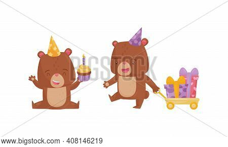 Funny Brown Bear Wearing Birthday Hat Holding Cupcake And Pulling Trolley With Wrapped Gift Boxes Ve
