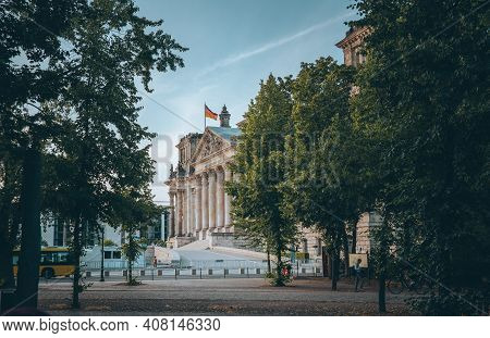 Berlin, Germany - Feb 10, 2021: View Towards Reichstag, German Parliament Building In The Government