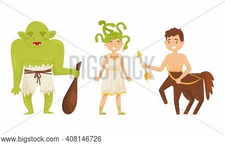 Gorgon And Entaur As Mythological And Fairy Creature Vector Set