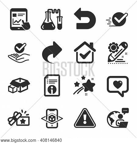 Set Of Technology Icons, Such As Chemistry Lab, Packing Boxes, Technical Info Symbols. Loyalty Gift,