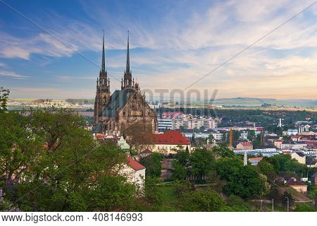 A View Of The City Of Brno In The Czech Republic In Europe From The Viewpoint Of Spilberk. The Domin