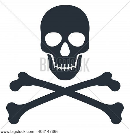 Skull And Crossbones Vector Monochrome Illustration Icon Sign Isolated On White Background.