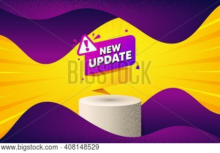 New Update Paper Banner. Background With Podium Platform. Important Message Tag. Exclamation Mark Ic