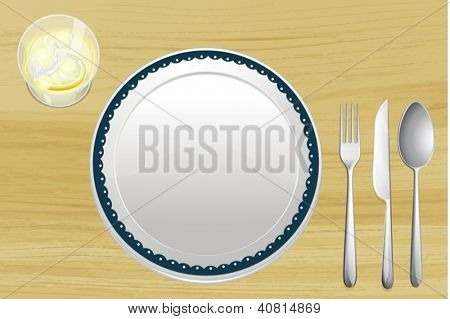 Illustration of an empty plate and a bowl of lemonade on a wooden table