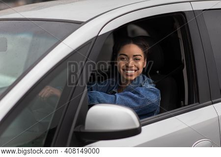 Beautiful Young Happy Smiling Woman Driving New Car Or Auto Blogger Shoots New Video. Smiling Young