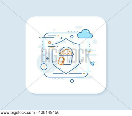 Cleaning Bucket With Sponge Line Icon. Abstract Vector Button. Washing Housekeeping Equipment Sign.