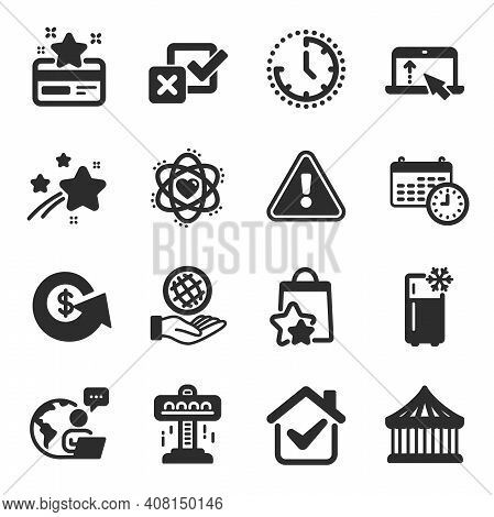 Set Of Technology Icons, Such As Safe Planet, Refrigerator, Atom Symbols. Checkbox, Calendar, Time S
