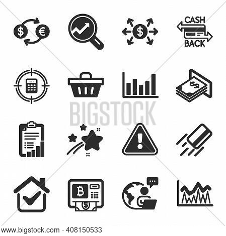 Set Of Finance Icons, Such As Cashback Card, Bitcoin Atm, Currency Exchange Symbols. Investment, Dol