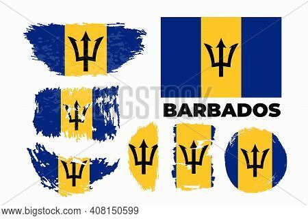 Grunge Brush Stroke With Barbados National Flag. Watercolor Painting Flag.