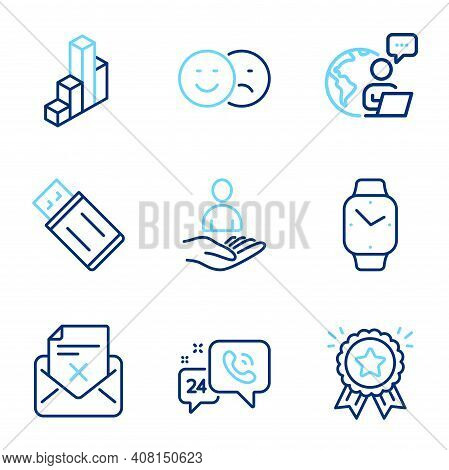 Technology Icons Set. Included Icon As Like, 3d Chart, 24h Service Signs. Smartwatch, Recruitment, L