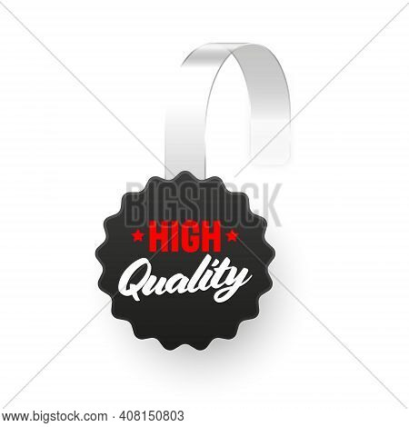 Supermarket Promotional Wobbler Isolated On White Background. Realistic Wobbler Template For Shelf A