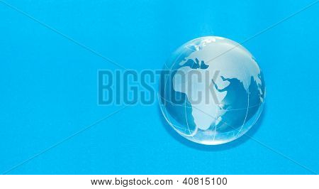 Blue globe with copyspace