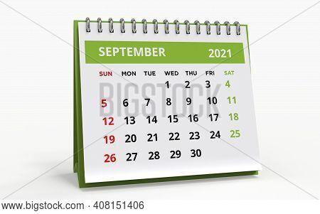 Standing Desk Calendar September 2021. Business Monthly Calendar With Metal Spiral Bound, The Week S