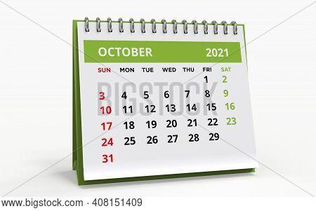 Standing Desk Calendar October 2021. Business Monthly Calendar With Metal Spiral Bound, The Week Sta