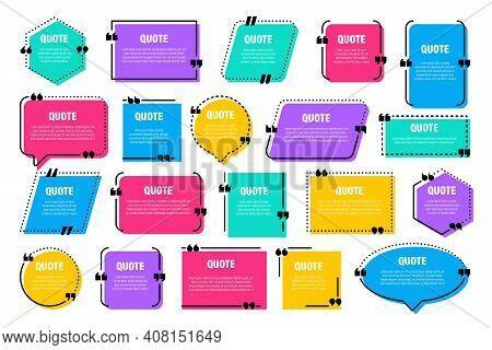 Set Of Colorful Isolated Quote Frames. Speech Bubbles With Quotation Marks. Blank Text Box And Quote