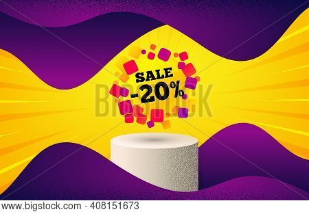 Sale 20 Percent Off Banner. Background With Podium Platform. Discount Sticker Shape. Coupon Bubble I