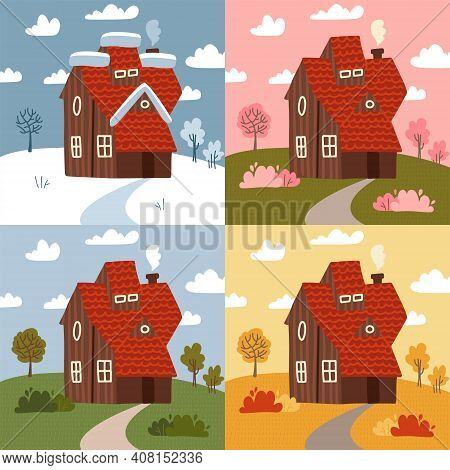 Four Seasons - Set Of Flat Design Style Concepts. Modern Images With A Countryside Building And Natu
