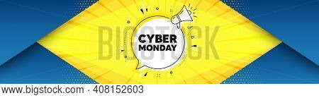 Cyber Monday Sale. Background With Offer Speech Bubble. Special Offer Price Sign. Advertising Discou