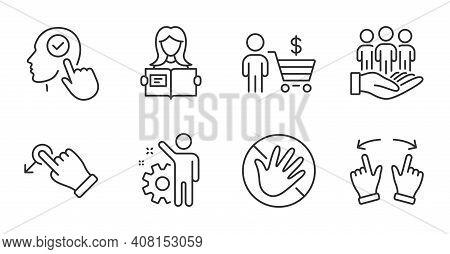 Do Not Touch, Drag Drop And Select User Line Icons Set. Buyer, Best Buyers And Employee Signs. Move