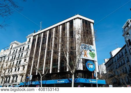 Madrid, Spain - February 14, 2021: Partido Popular Headquarters Building In Genova 13