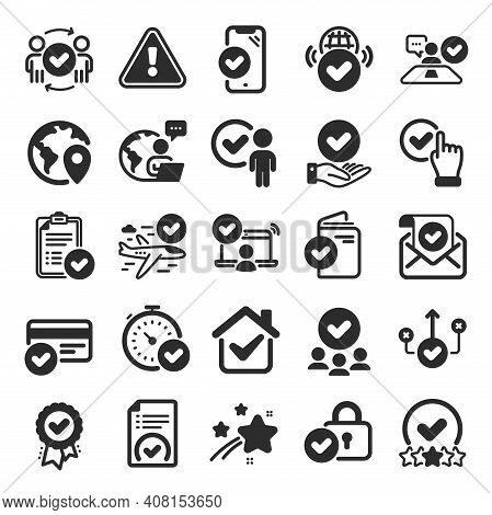 Approve Icons. Interviewed, Accepted Document, Right Choice. Quality Check, Protection, Checklist Ic