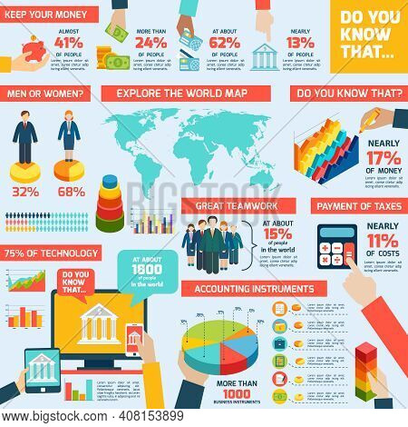 Accounting Infographics Set With Finance Money Charts And World Map Vector Illustration