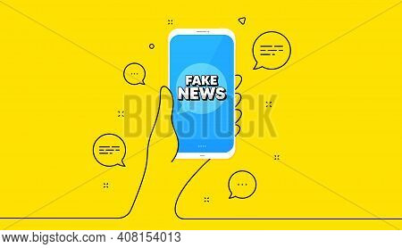 Fake News Symbol. Hand Hold Phone. Yellow Banner With Continuous Line. Media Newspaper Sign. Daily I