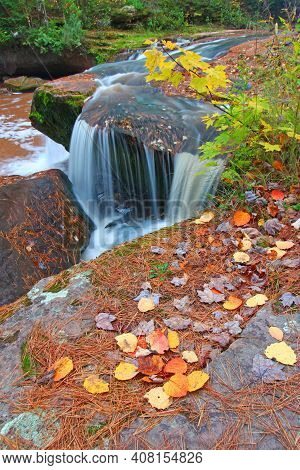 Cascades Of O Kun De Kun Falls On The Baltimore River In Ontonagon County Michigan.