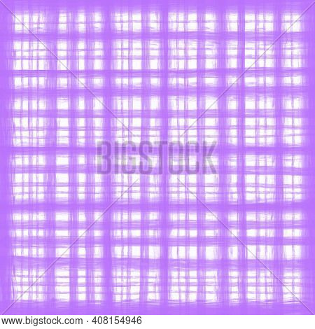 Lilac Lavender Violet Vintage Checkered Background With Blur, Gradient And Grunge Texture. Classic C