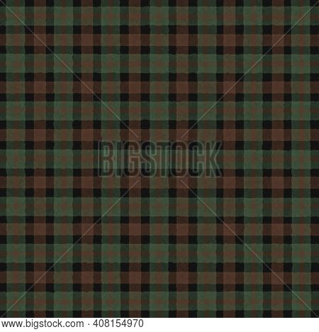 Green Olive Black Brown Vintage Checkered Background With Blur, Gradient And Grunge Texture. Classic