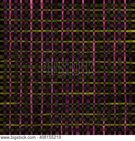 Pink Green Olive Yellow Vintage Checkered Background With Blur, Gradient And Grunge Texture. Classic