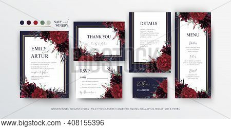 Floral Wedding Invite, Menu, Rsvp Card Editable Vector Design. Red Marsala Garden Rose Flowers, Burg