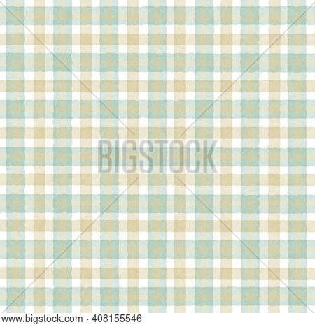 Green Turquoise Beige Vintage Checkered Background With Blur, Gradient And Grunge Texture. Classic C
