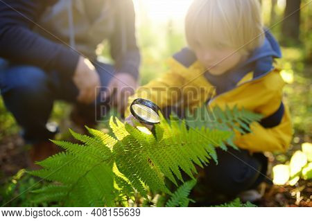 Preschooler Boy And His Father Are Exploring Nature With Magnifying Glass. Little Child Is Looking O