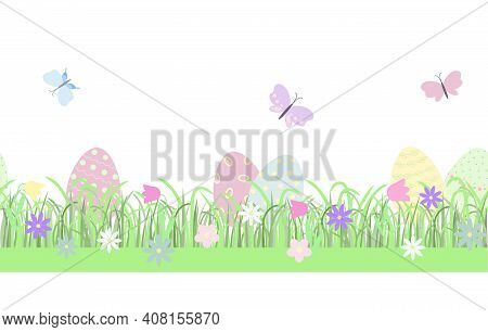 Easter Floral Composition Eggs, Butterflies, Early Spring Grass With Cute Flowers Seamless Horizonta
