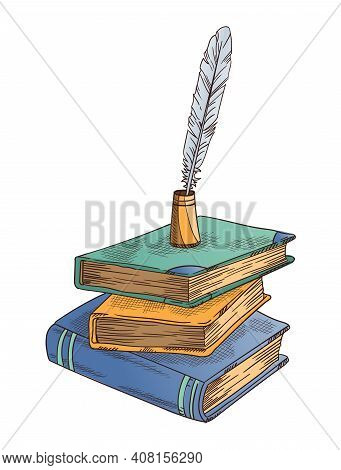 Old Books. Vector Old Closed Books Stack With Vintage Antique Quill And Feather Quill Pen In Inkwell