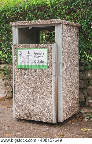 Postojna, Slovenia, October 2020: Garbage Bin Decorated By Stone Chips For All Waste In Slovenia