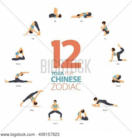 Infographic 12 Yoga Poses For Workout In Concept Of Chinese Zodiac In Flat Design. Women Exercising