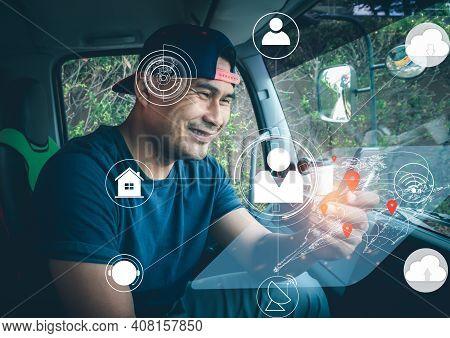Truck Driver Man Using Modern High Tech Technology Digital. Worker Deliver Men Communication With Pe
