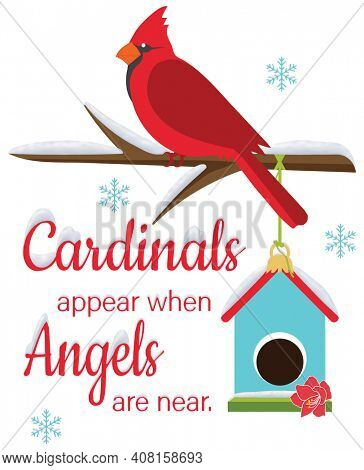 Cardinals Appear When Angels Are Near Perched Bird and Birdhouse in Winter Snow  Illustration with Clipping Path on White