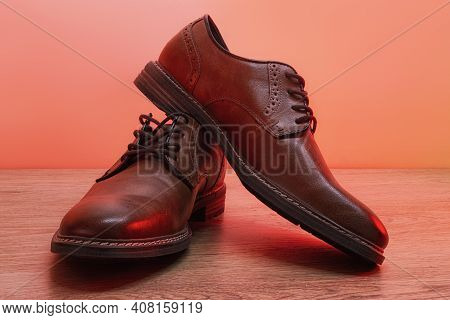 Men's Classic Pair Of Brown Leather Shoes.