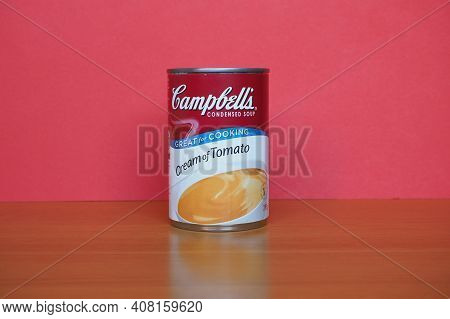 Camden - Circa February 2021: Campbell's Can Of Cream Of Tomato