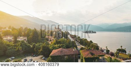 Panorama Of Lake Maggiore And Isola Bella From Above