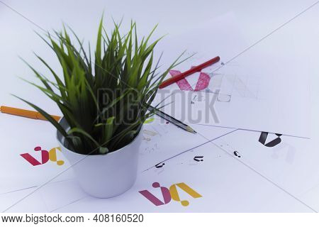 Creative Workplace Of A Graphic Designer With A Flower In A Pot. Development Of A Logo For The Compa