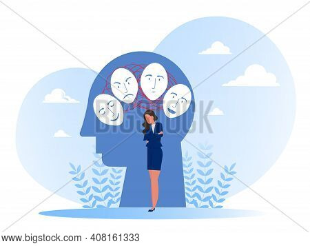 Imposter Syndrome, Masks With Happy Or Sad Expressions.bipolar Disorder, Fake Faces And Emotions. Ps
