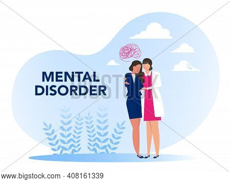 Mental Disorder, Cartoon Nurse With Girl Psychological Problems Concept Of Mental Disorder Or Illnes