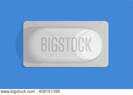 White Pill In Blister Pack Vector Flat Illustration Isolated On Blue Background. Medical Pill In Pac