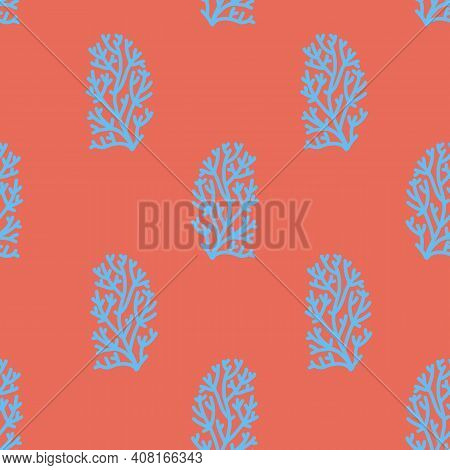 Simple Shaped Blue Corals Vector Seamless Pattern. Sea And Ocean Endless Bright And Colorfull Backgr